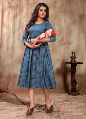 Blue Rayon Short Printed Maternity Kurti