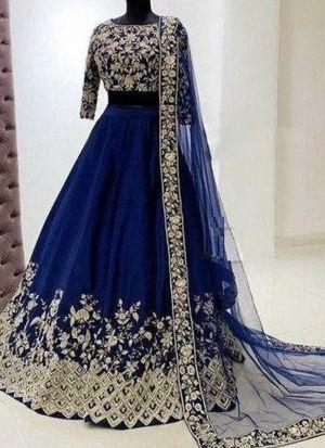 Blue Taffeta Silk Lehenga With Dupatta