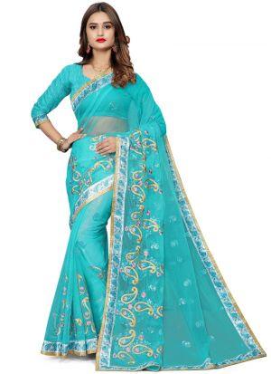 Bold And Gorgeous Sky Blue Bemberg Saree