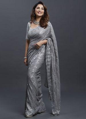 Bollywood Actress Madhuri Dixit Grey Sequence Saree