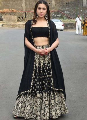 Bollywood Designer Black Heavy Embroidered Lehenga Choli With Stylish Koti