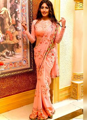 Bollywood Designer Peach Georgette Digital Printed Saree