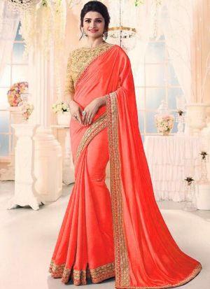 Bollywood Prachi Desai Chinon Silk Classic Designer Saree In Orange Color