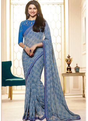 Bollywood Prachi Desai Print Georgette Classic Designer Saree In Blue Color