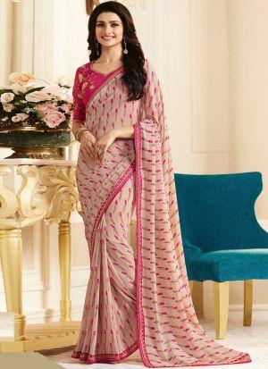 Bollywood Prachi Desai Print Georgette Classic Designer Saree In Peach Color