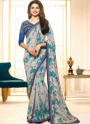 Bollywood Prachi Desai Print Georgette Classic Designer Saree In Sky Blue Color