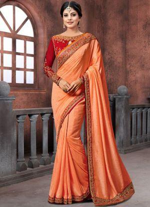 Bollywood Prachi Desai Rangoli Georgette Silk Classic Designer Saree In Orange Color