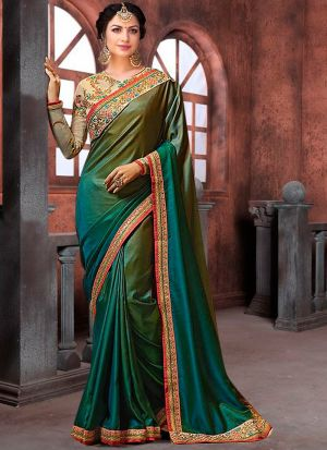 Bollywood Prachi Desai Rangoli Pedding Classic Designer Saree In Green Color