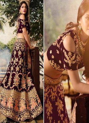 Bollywood Style Anika Maroon Thread Work And Hand Work Velvet Designer lehenga