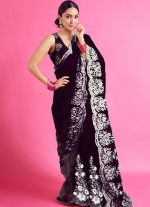 Bollywood Style Black Organza Silk Saree