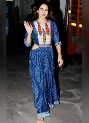 Bollywood Style Blue Crepe Digital Printed Gown