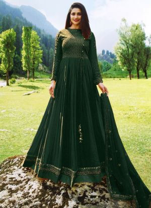 Bollywood Style Faux Georgette Embroidered Anarkali Suit