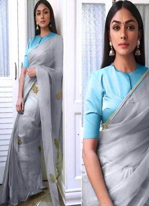 Bollywood Style Japan Satin Silk Grey Saree