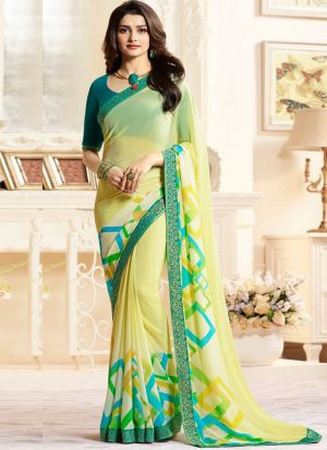 Bollywood Style Lime Yellow Printed Georgette Saree