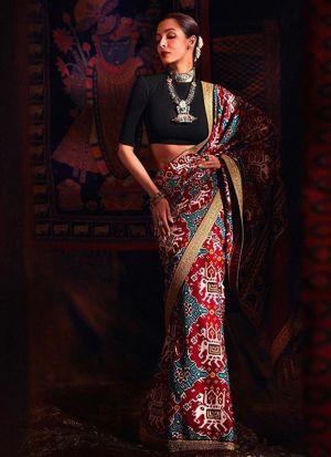 Bollywood Style Malaika Arora Chinon Silk Multi Color Saree