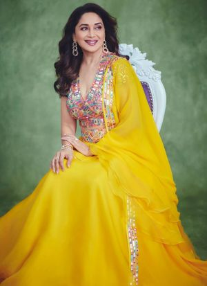 Bollywood Style Yellow Georgette Paper Mirror Work Lehenga Choli