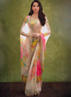 Bollywood Stylish Embroidered White Organza Silk Saree