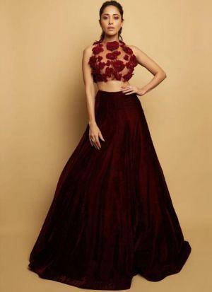 Bollywood Stylish Maroon Velvet Lehenga Choli