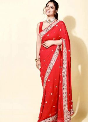 Bollywood Stylish Red Georgette Thread Work Wedding Wear Saree