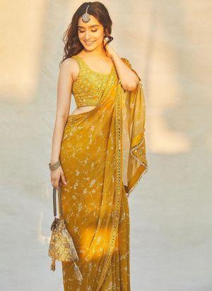 Bollywood Stylish Yellow Chinon Silk Thread Work Saree