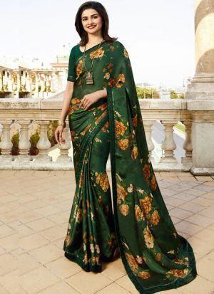 Bottle Green Rangoli Silk Printed Bollywood Style Saree