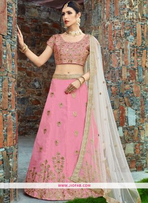 Bridal Baby Pink Embroidered Art Silk Ceremony Lehenga Choli