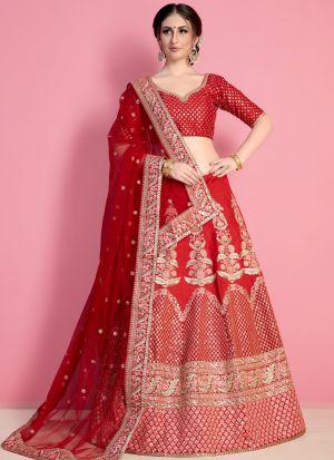 Bridal Coral Red Embroidered Art Silk Traditional Lehenga Choli