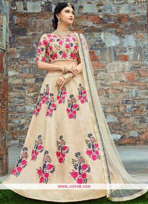 Bridal Cream Embroidered Art Silk Wedding Lehenga Choli
