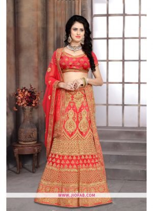 Bridal Gajari Semi Stitched Chaniya Choli