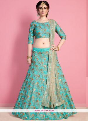 Bridal Neon Green Embroidered Art Silk Ceremony Lehenga Choli