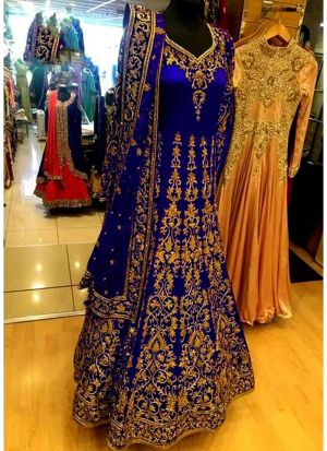 Bridal Royal Blue Banglori Silk Diamond Work Lehenga Choli With Mono Net Dupatta