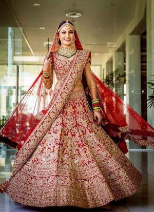 Bridal Wear Red Taffeta Silk Lehenga