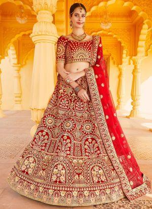 Bridal Wear Red Velvet Lehenga Choli