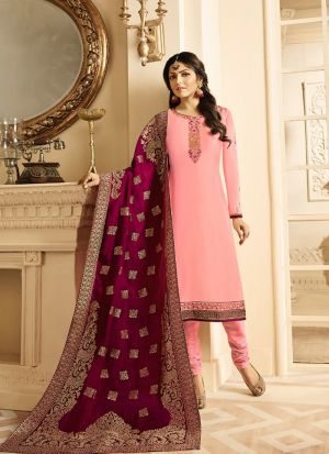 Bright Light Pink Salwar Suit With Designer Dupatta
