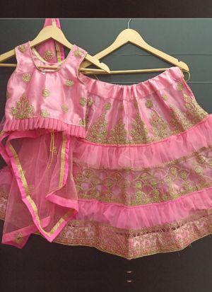 Bright Pink Net Frill Cording Work Kids Lehenga Choli