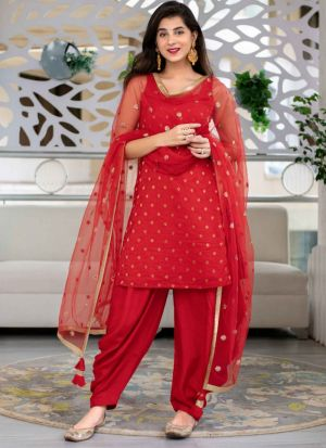 Bright Red Georgette Patiala Suit