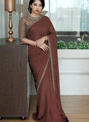 Brown Colored Two Tone Silk Fancy Sequence Work Saree