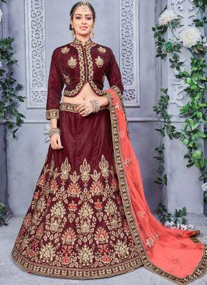 Brown Designer Wedding Lehenga Choli With Two Tone Velvet Fabric