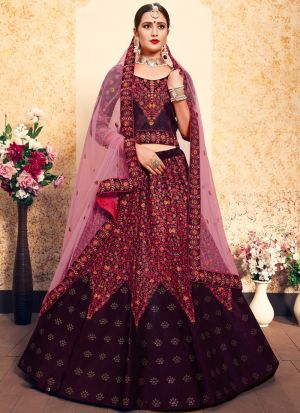 Brown Embroidered Designer Lehenga Choli For Wedding