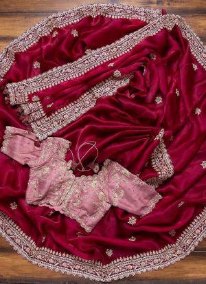 Burgendy Thread Embroidered Classy Saree