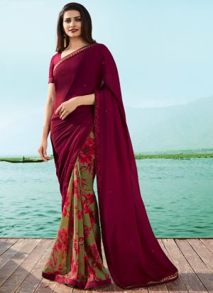 Burgundy Maroon Georgette Beautiful Printed Saree