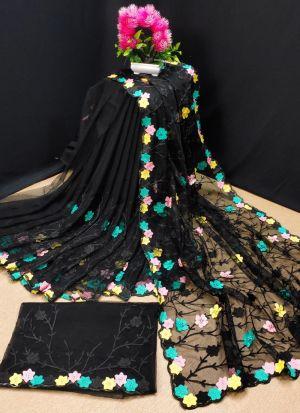 Butterfly Net Black Chain Stitch Saree
