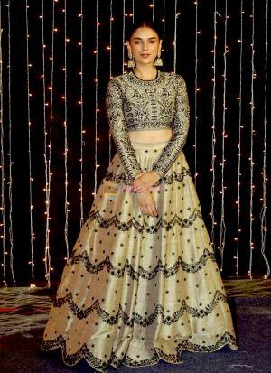 Buy Bollywood Style Designer Banglor Sattin Golden Lehenga Choli