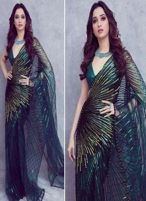 Buy Tamanna Bhatia Wear 60 Gm Georgette Turquoise Green Saree