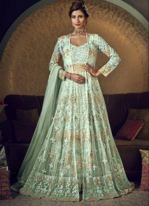 Captivating Light Fern Green Net Embroidered Salwar Suit