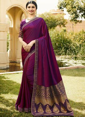 Captivating Magenta Pink Rangoli Silk Jequard Saree