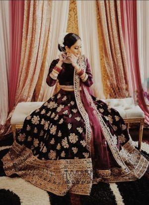 Captivating Maroon Velvet Lehenga Choli