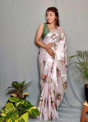 Captivating Off White Satin Silk Saree