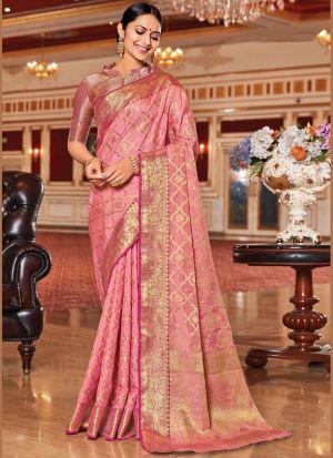Captivating Pink Weaving Silk Saree