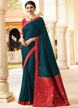 Captivating Rama Green Rangoli Silk Jequard Saree